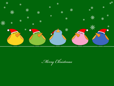 Vector picture of birds singing christmas songs on green background Vector