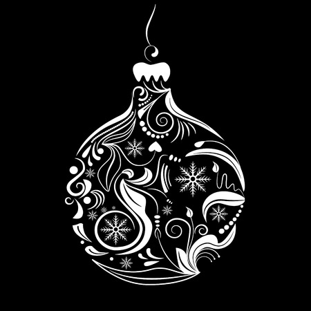 evening ball: Vector picture of white silhouette of christmas ball on black background