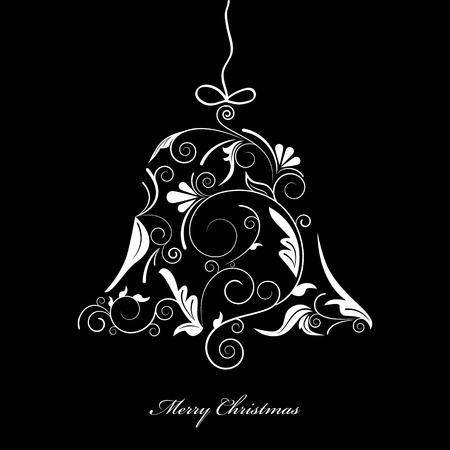 ruban noir: Image vectorielle de silhouette blanche de bell de No�l sur fond noir Illustration
