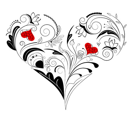 floral heart: Vector picture of black heart with floral ornament Illustration