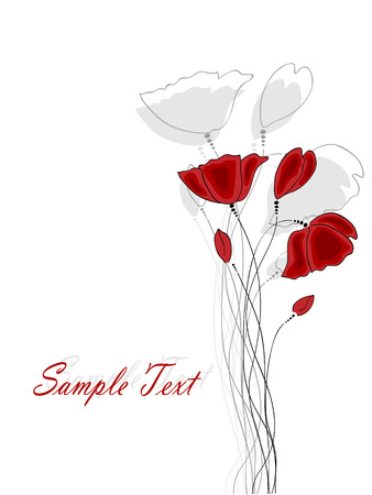Vector pictures with red poppy flowers Vector