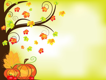 Vector picture of thanksgiving background with pumpkins, crop, apples and tree. RGB Vector