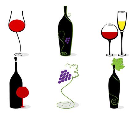 Vector set of wine bottles, glasses and vine. RGB Stock Vector - 8196636