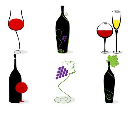 Vector set of wine bottles, glasses and vine. RGB Stock Vector - 8196636