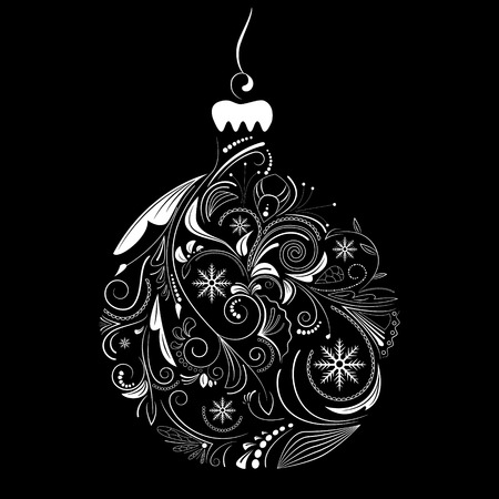 Vector picture of white silhouette of christmas ball on black background Stock Vector - 8196649