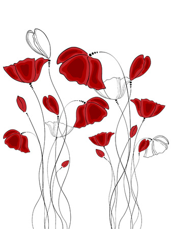 flower drawings: Vector pictures with red poppy flowers