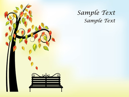 rgb: Vector picture of black bench and tree with orange, red, yellow and green leaves. RGB
