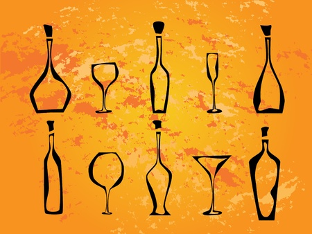Abstract picture of wine bottles and wine glasses on orange background Stock Vector - 8265629