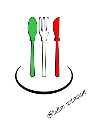 napkins:   picture of spoon, fork and knife. Colors of italian flag.   Illustration