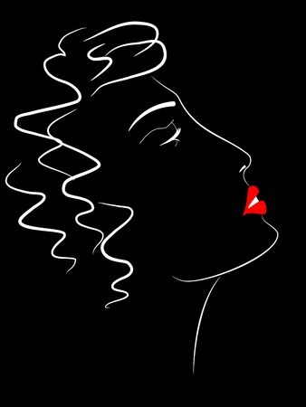 red head woman: Abstract   picture of face of beautiful girl Illustration