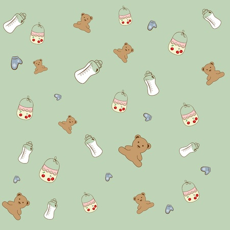 background with baby toys, milk bottles.  Vector