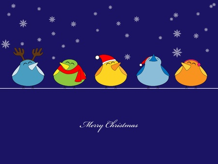 picture of birds singing christmas songs on blue background Vector