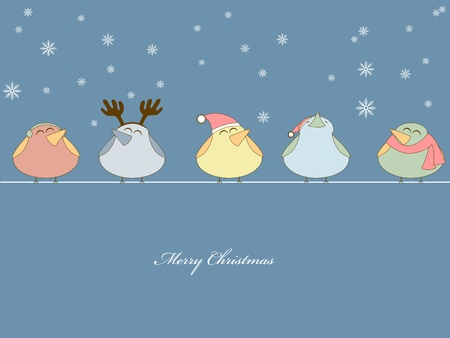 robin:   picture of birds singing christmas songs on blue background Illustration