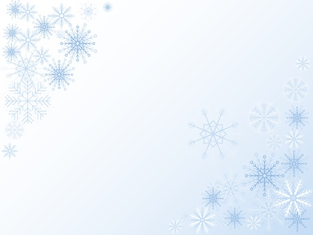 Blue  background with different snowflakes Vector
