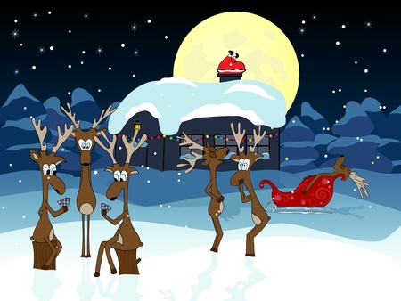 chimneys:  picture about funny deers waiting Santa Claus