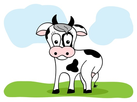 picture of black and white cartoon cow Vector