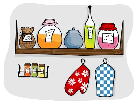picture of kitchen shelf with bottles and jam jars Vector