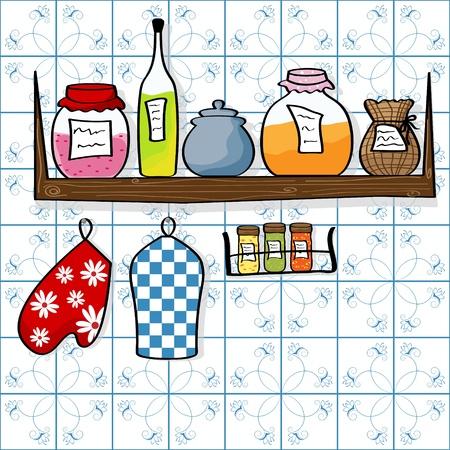cocina caricatura: imagen de plataforma de cocina con botellas y frascos de mermelada