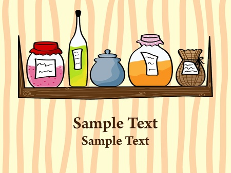 picture of kitchen shelf with bottles and jam jars Stock Vector - 8265651