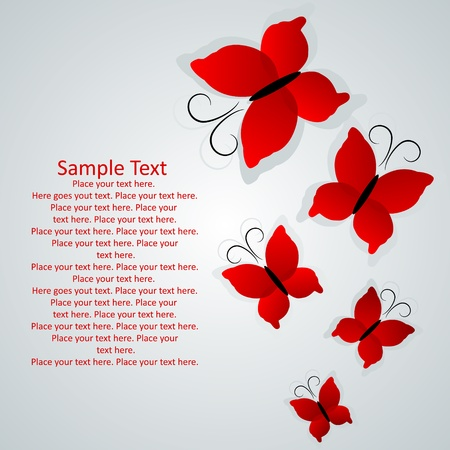 Grey  background with red butterflies Vector