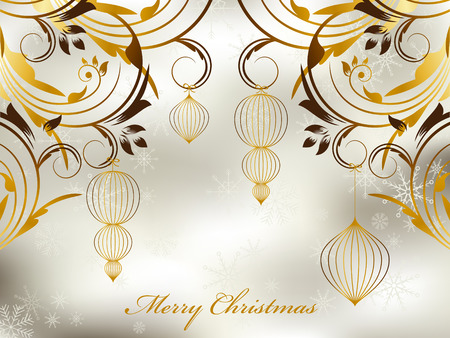 Christmas greeting card with golds balls on silver background Vector