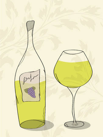 Vector abstract picture of white wine Vector