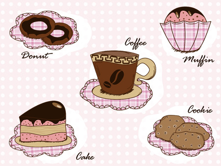 cafe bombon: Vector con pastel, cookies, donut, muffin y caf�