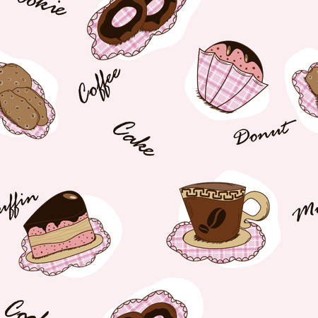 Vector seamless backgeound with cakes, cokkies, muffins and caffee Stock Vector - 8499324