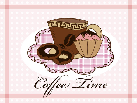 Vector picture with coffee, donuts and muffin Stock Vector - 8499323
