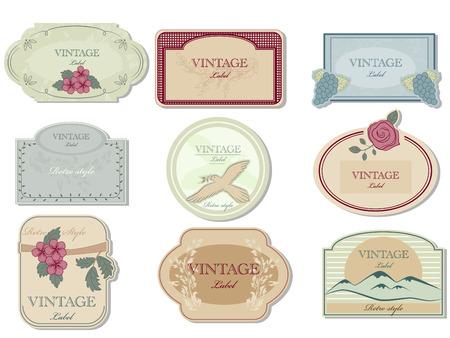 alcohol cardboard: Vector vinage label set Illustration