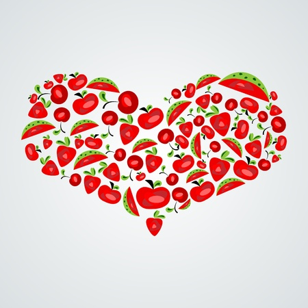 Vector picture with red abstract heart of fruits Vector