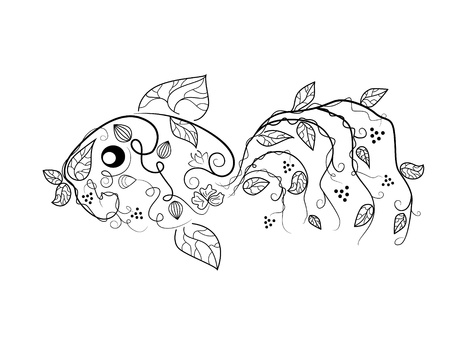 Vector picture with bizarre fish Vector