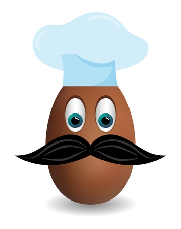 Vector picture of egg with chef head and mustache Stock Vector - 8582578