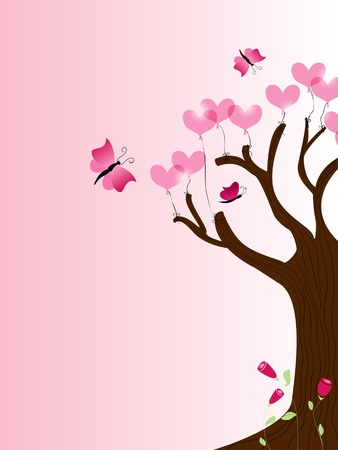 picture with tree and heart balloons Vector