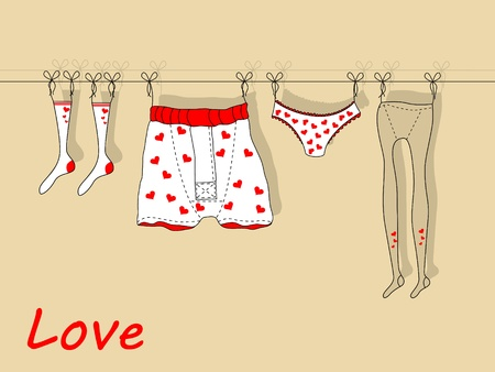 underpants: Vector greeting card for St. Valentines day