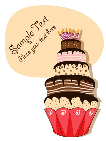 picture with birthday cake Stock Vector - 8614611