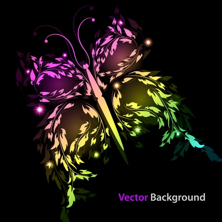 picture with multi-colored abstract butterfly Vector