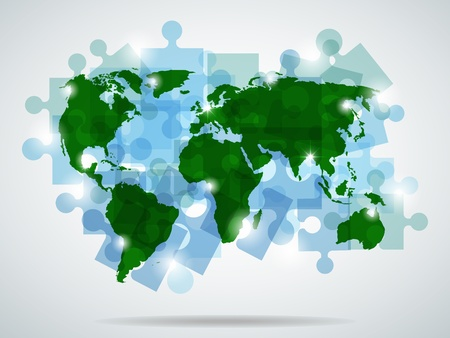 picture with blue puzzles and green map  Vector