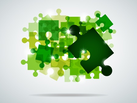 picture with green puzzle and bright light Stock Vector - 8614632