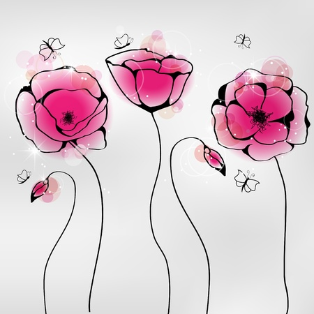 pictures with pink poppy flowers and butterflies Vector