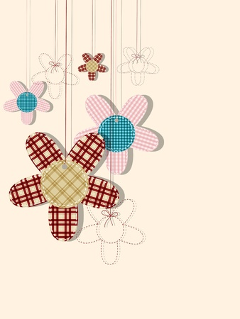 greeting card with textile flowers Vector