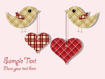 pattern for wedding invitation with textile hearts and birds Vector