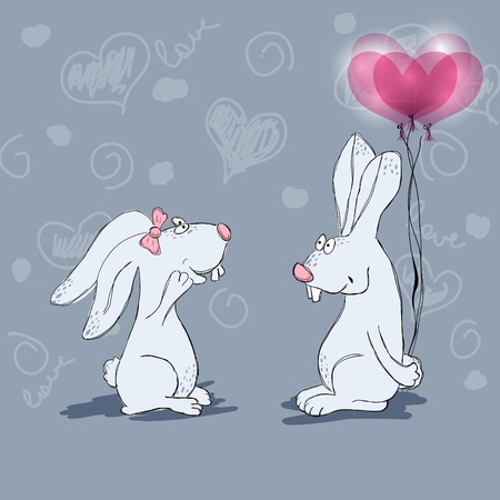 Hand drawn picture with funny rabbits Vector