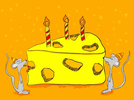 Hand drawn greeting card funny mouses and cheesecake Illustration