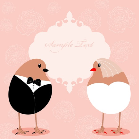 pattern for wedding invitation with birds Vector