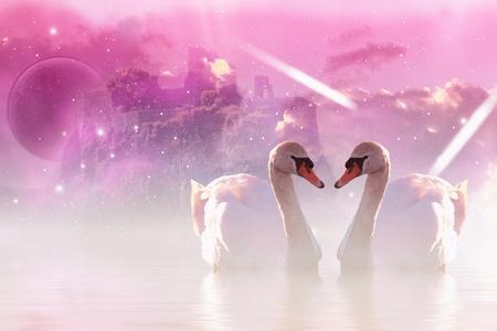 cisnes: Imagen rom�ntica con rosas de cisnes y castillo en segundo plano