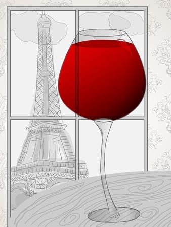 Immagine vettoriale con vino rosso e la Torre Eiffel nella finestra