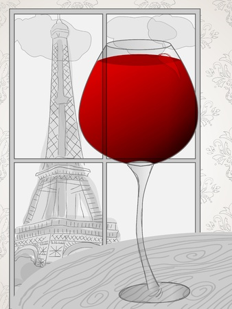 Vector picture with red wine and Eiffel tower  in the window Vector