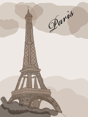 Vector picture with Eiffel tower   Stock Vector - 8786393