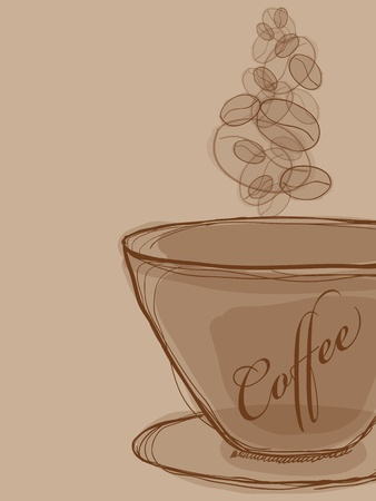 Vector picture with coffee cup and steam Vector